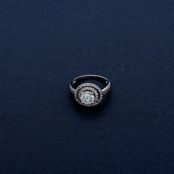Silver Ring with a Huge Sparkling Stone Inlay at the Center