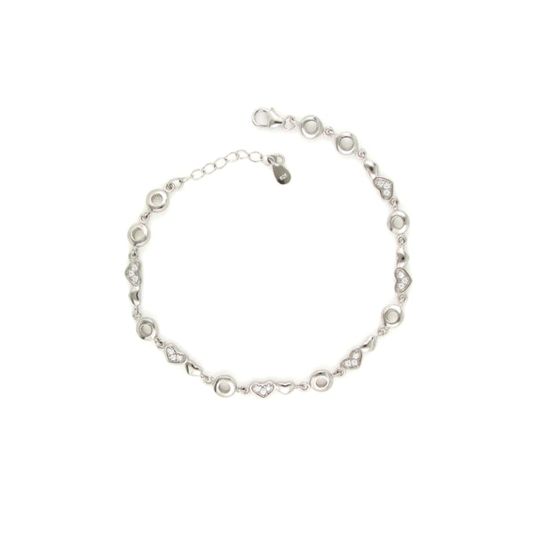 Unique Sterling Silver Charm Bracelets with Heart And Circular Shaped Beads