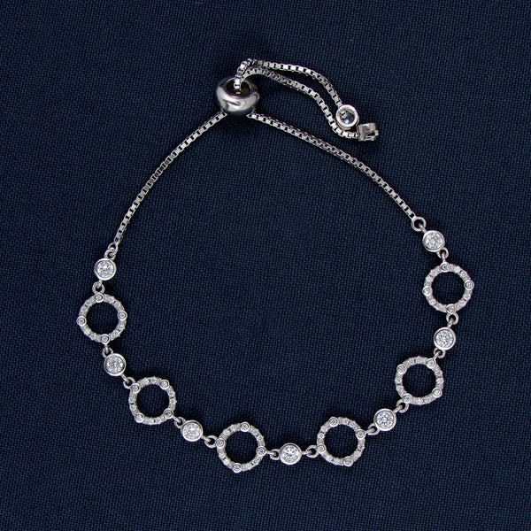 Silver Bracelet with Stone-Covered Circle Designs