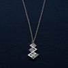 Criss-Cross Diamond Shape Silver Pendant Chain