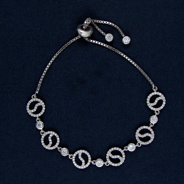 Dangling Silver Bracelet with Round-shaped Designs