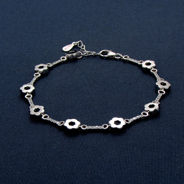 Sterling Silver Link Bracelet with Star-Shaped Beads