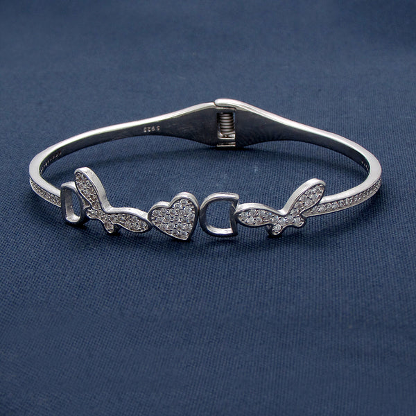 Heart With Butterfly Wings Silver Bracelet