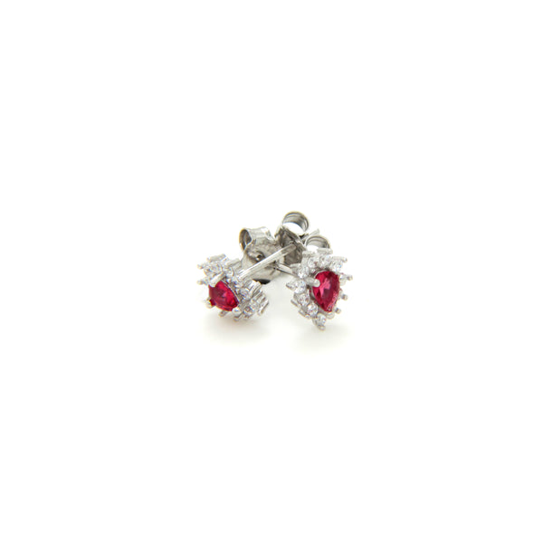 Pear Drop Sterling Silver Earrings with Red Gem