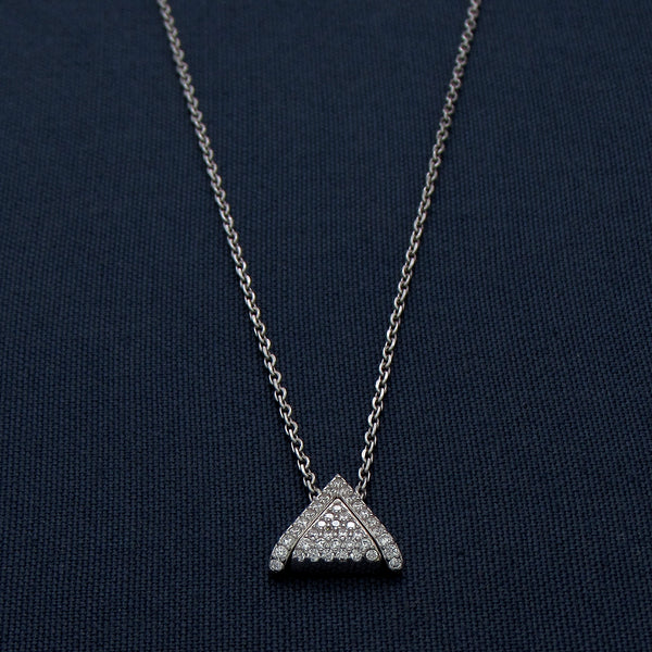 Silver Pendant with a Triangle Design