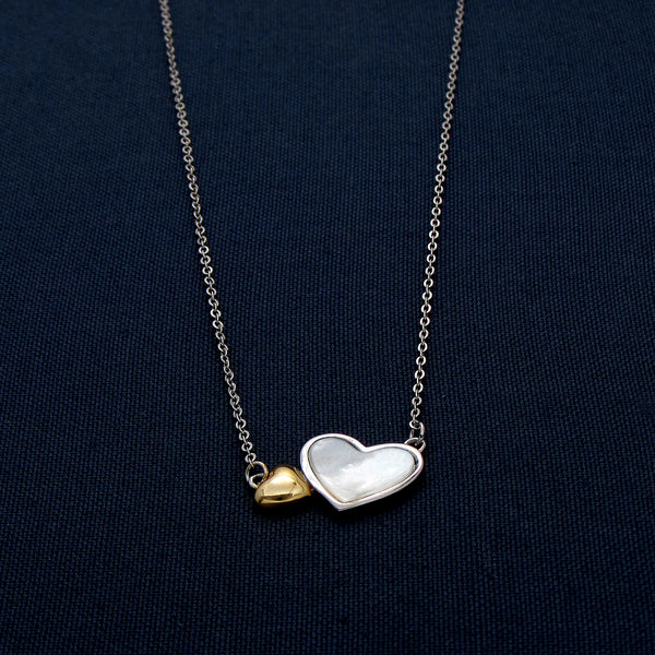 Silver and Gold Two Hearts Pendant
