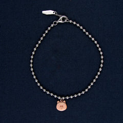Classic Silver Bracelet with Rose Gold Bear Design
