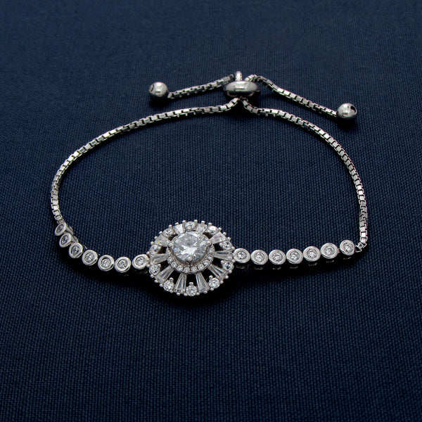Silver Studded Thin Chain Bracelet