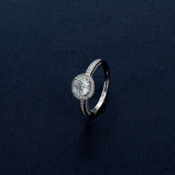 Sterling Silver Round Halo Sparkler Ring