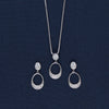 Shining Oval Pattern Silver Pendant Earring Set
