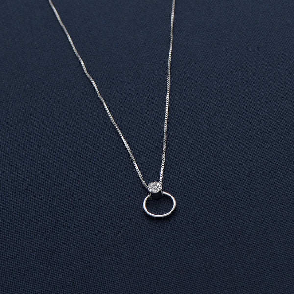 Simple Silver Circle CZ Pendant Chain