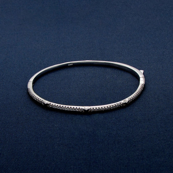 Sterling Silver Bangle Lined with Sparkling Mini Stones