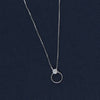 Simple Silver Circle CZ Pendent Chain