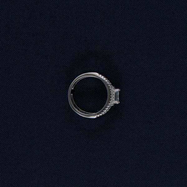 Silver Ring with a Two Princess Cut Center Stones