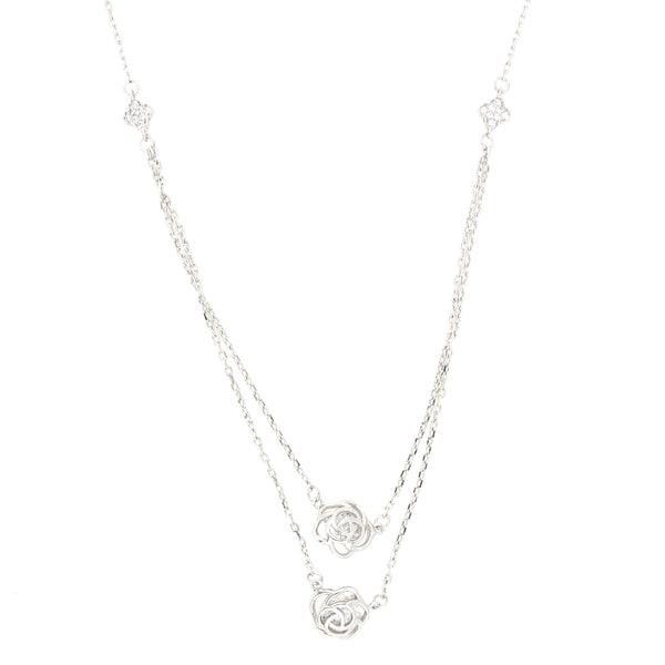 Silver Double Chain Pendant with Rose Designs