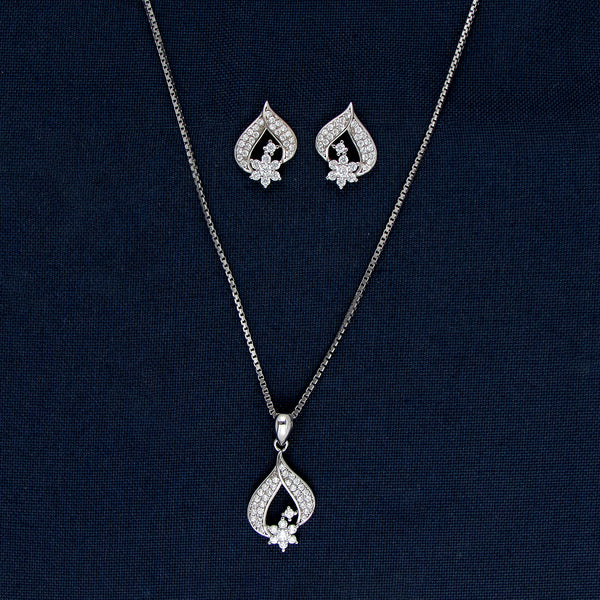 Silver Flower With A Leaf Earrings And Pendant