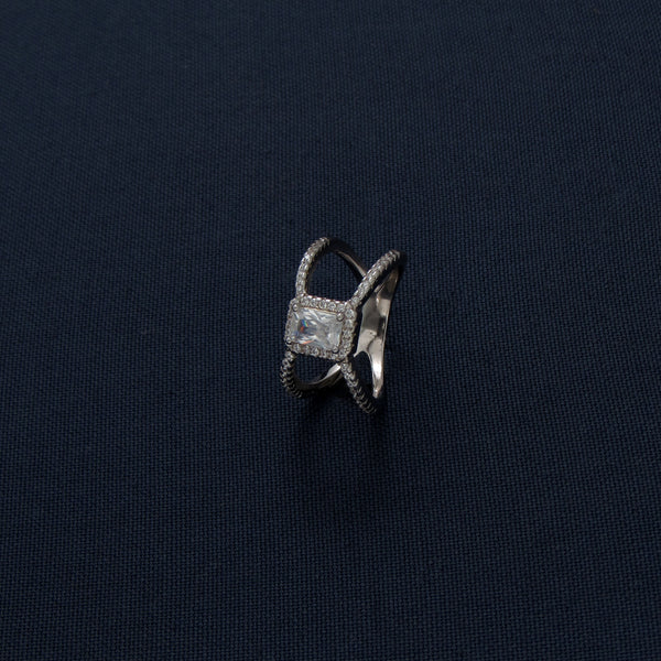 Neutron-Shaped Stone-Studded Silver Ring