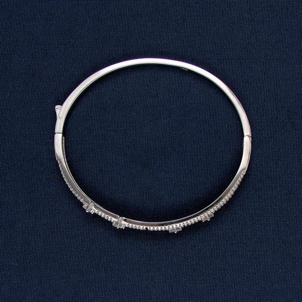 Silver Bracelet with Parallel Bars and Tiny Sparkling Stones