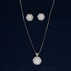 Beautifully Bloomed Flower Silver Pendant Set