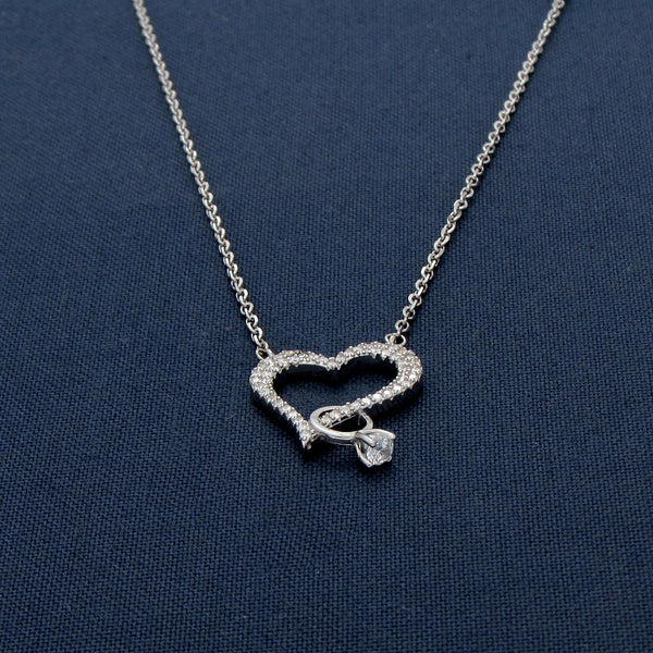 The Girl With A Diamond Studded Heart Silver Pendant Chain