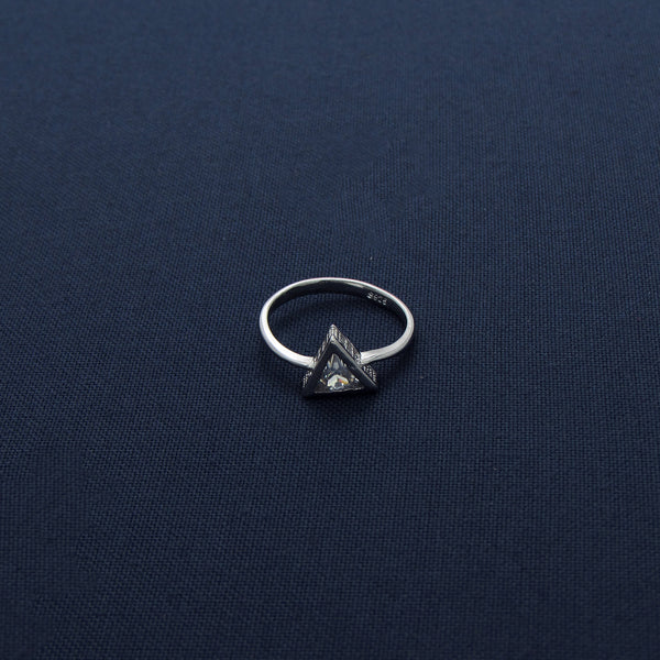 Classic Sparkling Triangle Silver Ring