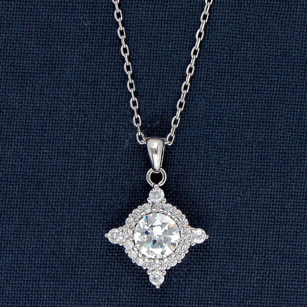 Round Solitaire Guarded With Diamonds Pendant Chain in Sterling Silver