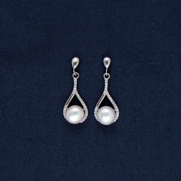Large Silver Encased Round Stone Earrings