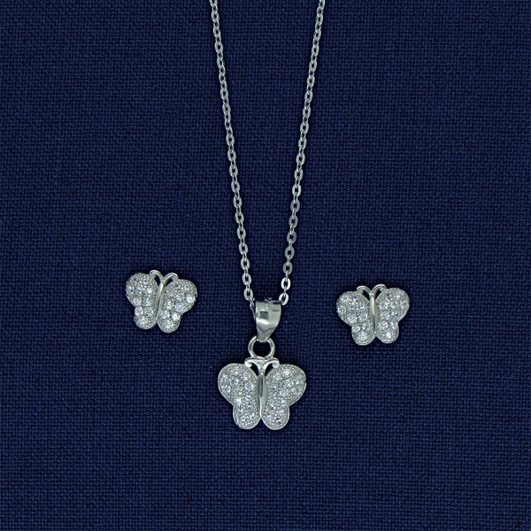 Delicate Sterling Silver Butterfly Set