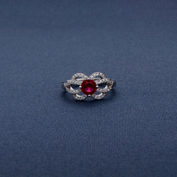 Red Gemstone Studded Silver Flower Style Ring