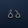 Stone Studded Oval Shaped Silver Earring