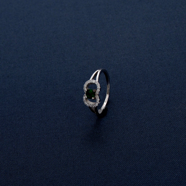 Studded Green Gemstone Silver Ring