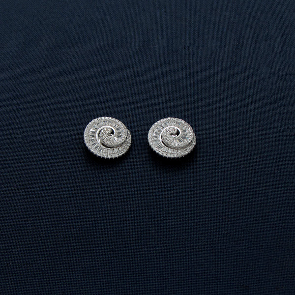 Twisted Round Sterling Silver Studded Earrings