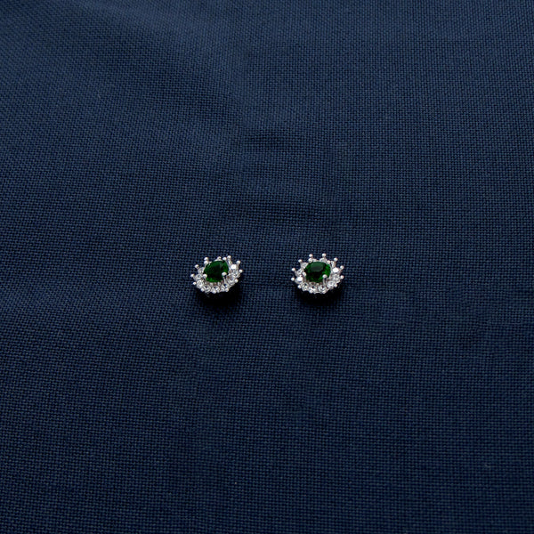 Silver Earrings with a Green Gem Bordered by White Sparkling Stones