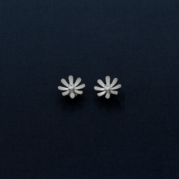 Bloomed Flowery Shaped Matte Sterling Silver Earrings