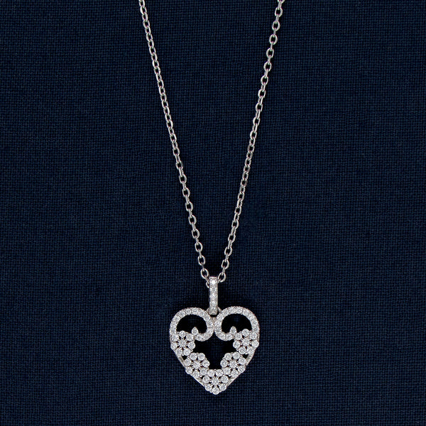 Five Flowers In A Heart in Silver Pendant Chain