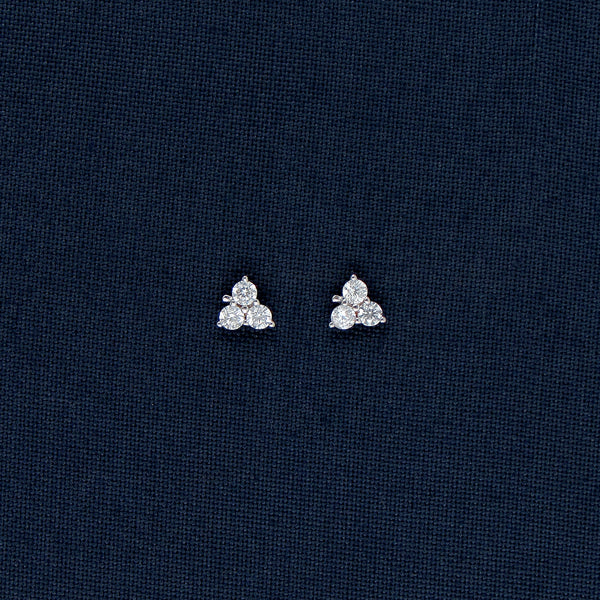 Triangle-Shaped Sterling Silver Earrings with Tiny Stones