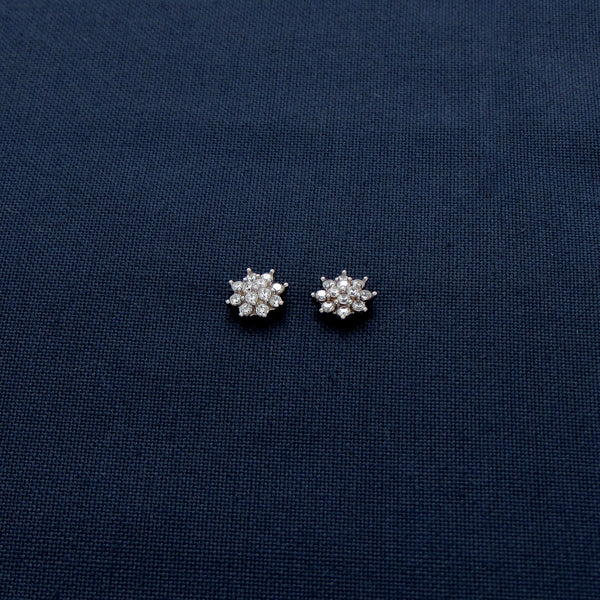 Silver Earrings with Tiny Stones in Octagram Design