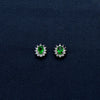 Magnetic Silver-Lined Earrings with a Green Stone at the Center