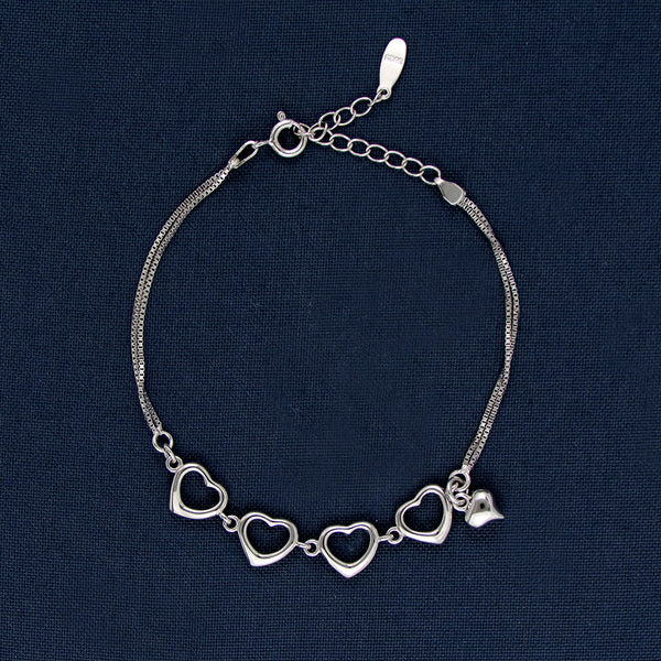 Four Hearts In a Silver Chain  Bracelet