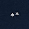 Six Pointed Star-Shaped Sterling Silver Earrings with Shiny Stones