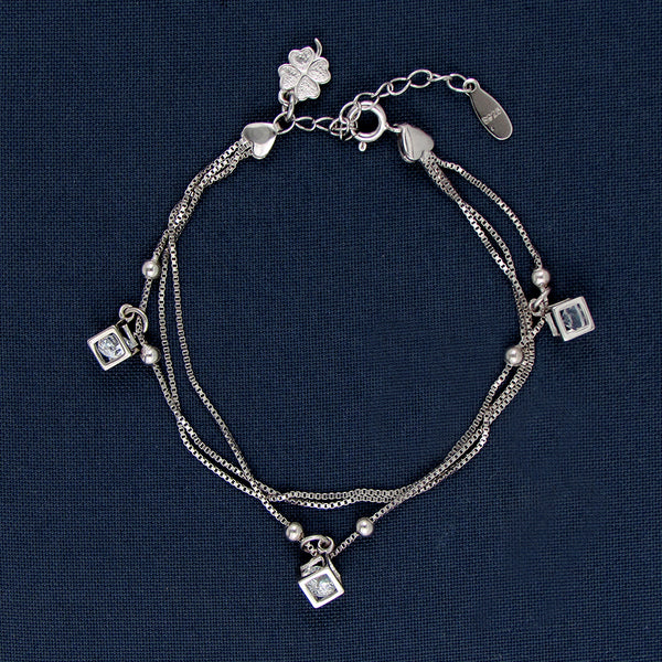 Dice In The Corners Silver Bracelet