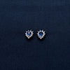 Pear Drop Sterling Silver Earrings with Blue Gem