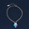 The One With A Blue Crystal Heart in Silver Charm Bracelet