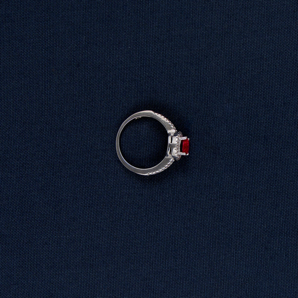 Classy Silver Studded Ring with Red Stone Inlay