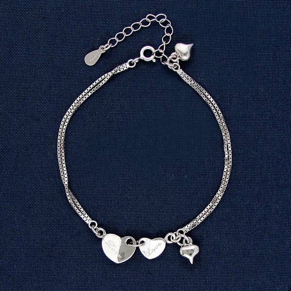 Two Hearts Together Forever Silver Charm Bracelet