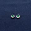 Pear Drop Sterling Silver Earrings with Green Gem