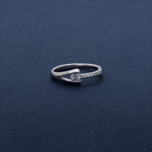 Double Band Sterling Silver CZ Ring