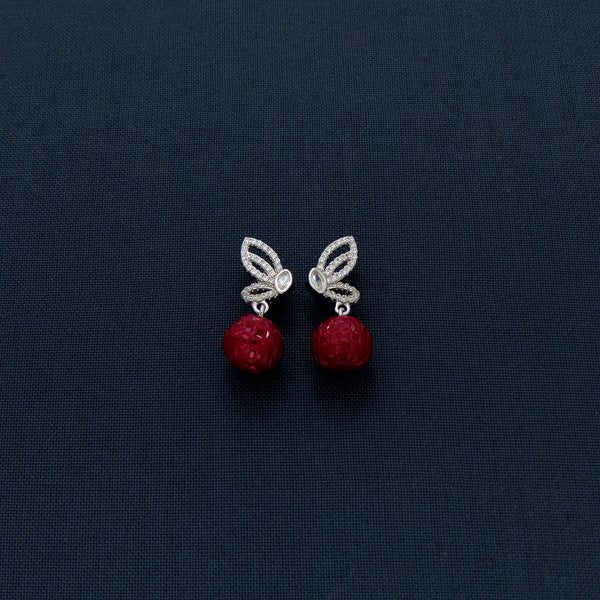 Rubby Sparkling Stone Butterfly Shaped Dangles Earrings