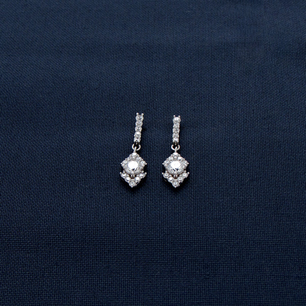 Marvellous Silver Earrings with Tiny Sparkling Stones