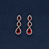 Red On Red Silver Necklace And Earrings